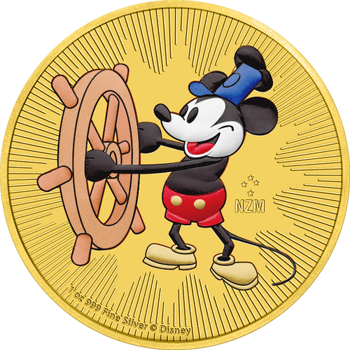 STEAMBOAT WILLIE - MICKEY MOUSE - 2017 1 oz Silver Coin - Color & 24K Gold Plating