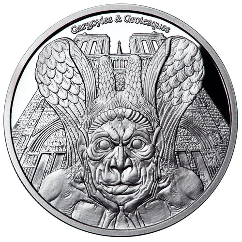 SPITTER Gargoyles & Grotesques Notre Dame de Paris Proof 1 Oz Silver Coin 1000 Fr. Chad 2017