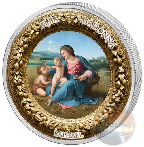 2 oz ALBA MADONNA RAPHAEL Perfection in Art Silver Coin 10$ Niue 2017