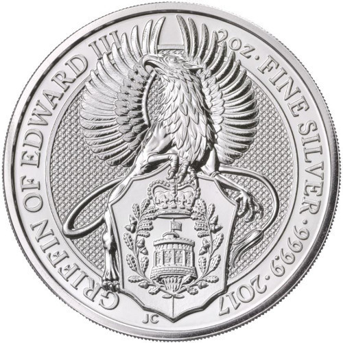 Queen/'s Beasts 5 Pounds 2017 The Griffon of Edward III 2 oz Silver Coin Coloured