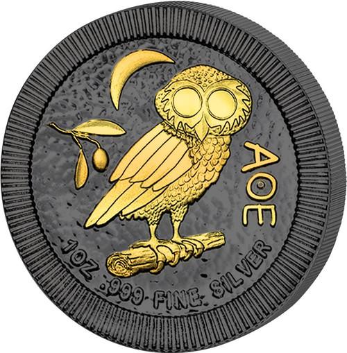 OWL OF ATHENS Athena Golden Enigma 1 Oz Silver Coin 2$ Niue 2017