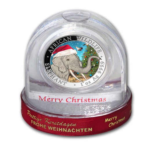 2018 ELEPHANT - Christmas Coin in Snow Globe 1 oz .9999 Silver Coin Somalia