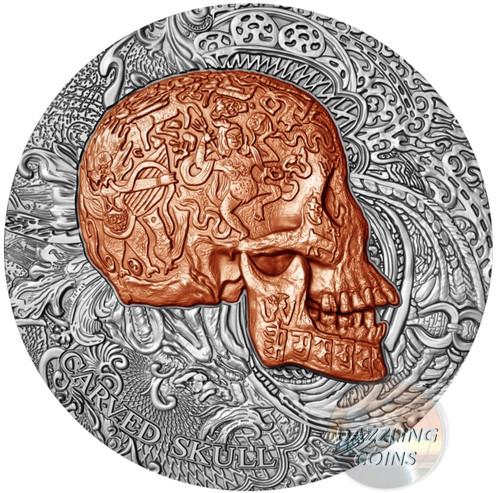 CARVED SKULL Bones 1 Oz Silver Coin 1000 Francs Cameroon 2017