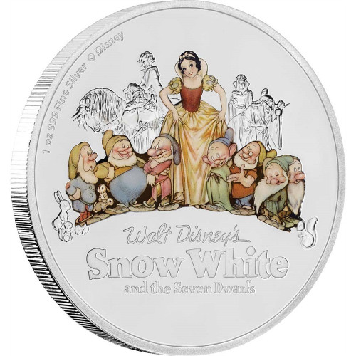 SNOW WHITE AND THE SEVEN DWARFS - 80th. Ann. - 2017 1 oz Pure Silver Coin