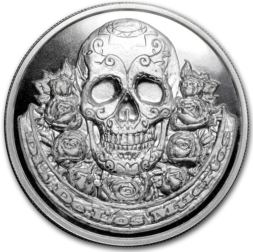 DIA DE LOS MUERTOS - DAY OF THE DEAD - 2 oz High Relief Silver Round