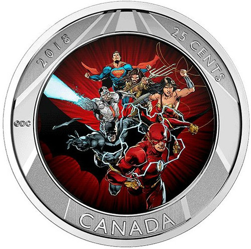 THE JUSTICE LEAGUE - BATMAN, CYBORG, AQUAMAN,SUPERMAN, WONDER WOMAN - 2017 25 Cent Lenticular Coin