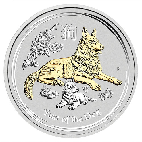 YEAR OF THE DOG Lunar Year Series II 1 oz Silver Gilded Coin Australia 2018