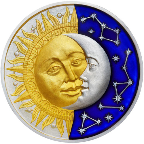 THE SUN & THE MOON Celestial Bodies 2 Oz Silver Coin 5$ Niue 2017