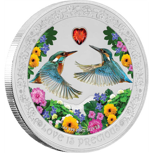 KINGFISHER Love is Precious 1 Oz Silver Coin 2$ Niue 2018