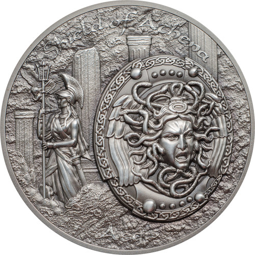 Shield of Athena -  AEGIS w/ MEDUSA  2 Oz Silver Coin  Cook Islands 2018