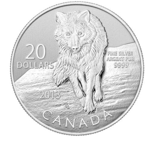"""$20 """" Wolf """" Canada 2012 Fine Silver Coin"""