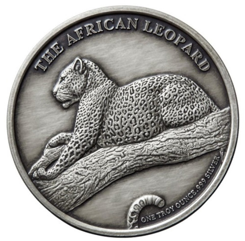 The KRUGER LEOPARD 1 oz Silver Antique finish round with Serial Number