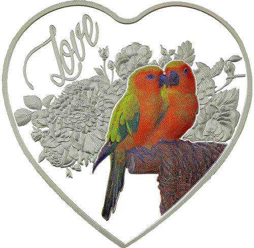 LOVE BIRDS Heart-Shaped Silver Coin 2018 Tokelau