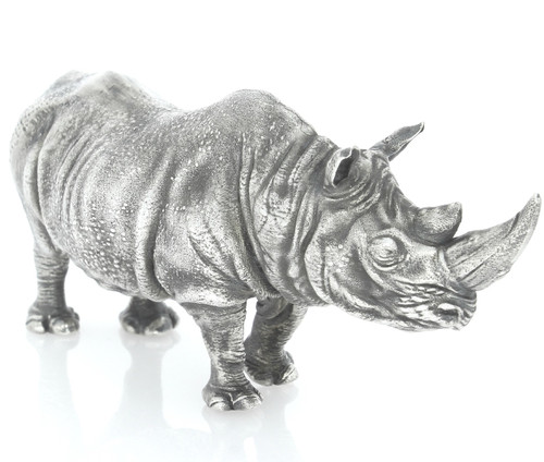 AFRICAN RHINO – 6 oz Silver 3D STATUE with Serial Number