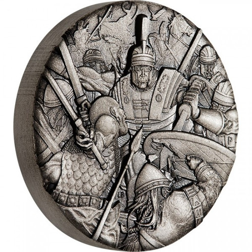 Warfare - Roman Legion 2 oz Silver Antiqued High Relief Coin 2018
