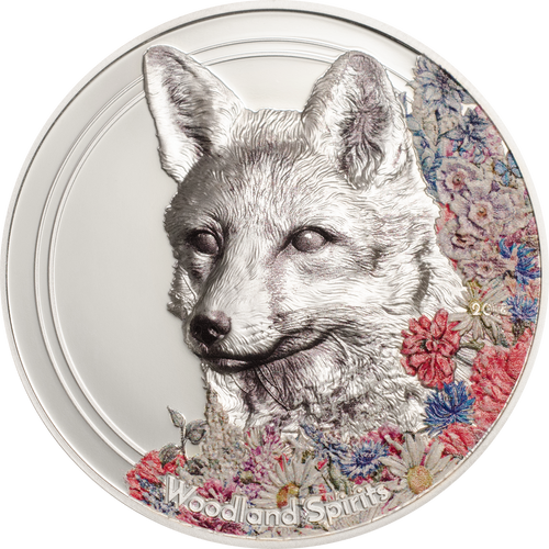 Woodland Spirits - Fox 500 Togrogs 1oz Silver Coin - Mongolia 2018