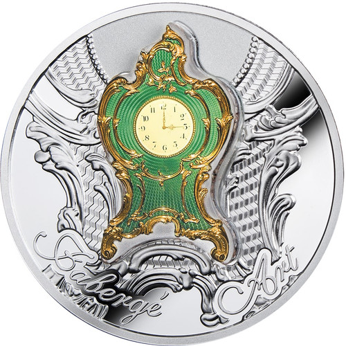 IMPERIAL DESK CLOCK Art of Faberge 1 Oz Silver Coin 1$ Niue 2018