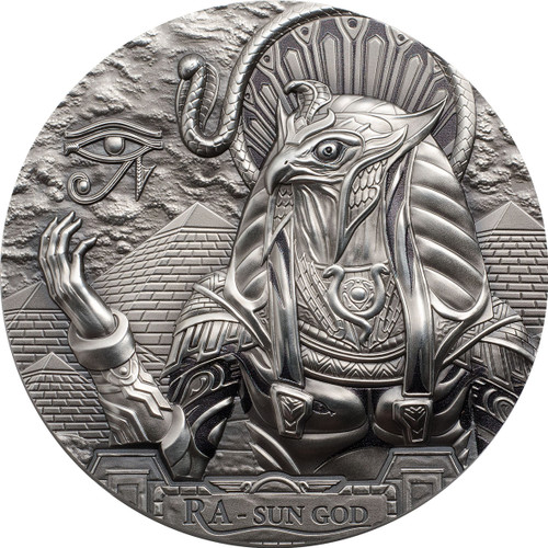RA SUN GOD Egyptian Eagle Head Gods 3 Oz Silver Coin 20$ Cook Islands 2018