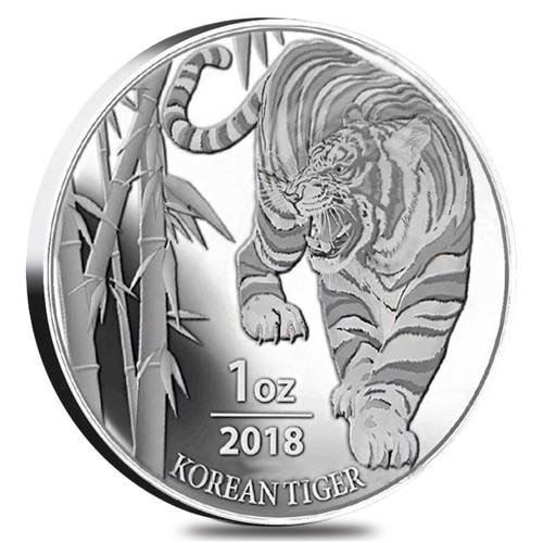 KOREAN TIGER – 2018 1 OZ SILVER MEDAL – SOUTH KOREA KOMSCO