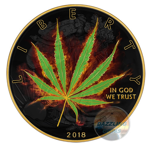 BURNING LIBERTY MARIJUANA – SATIVA – 2018 1 oz Silver Coin – Ruthenium and 24K Gold