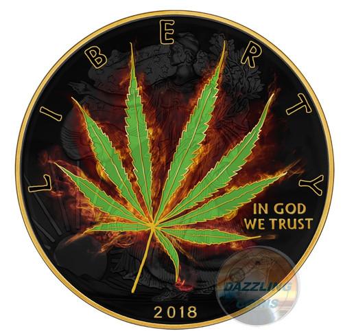 BURNING LIBERTY MARIJUANA – SATIVA – 2018 1 oz Silver Coin – Ruthenium and 24K Gold