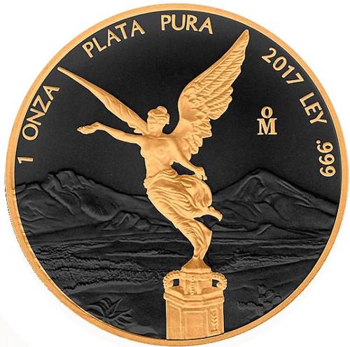 2018 Mexico FELIZ NAVIDAD LIBERTAD 1 Oz Silver Coin 24Kt Gold Gilded.