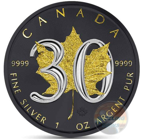 30th Ann. Canadian Silver Maple - GOLD BLACK EMPIRE - 1 OZ SILVER COIN 2018