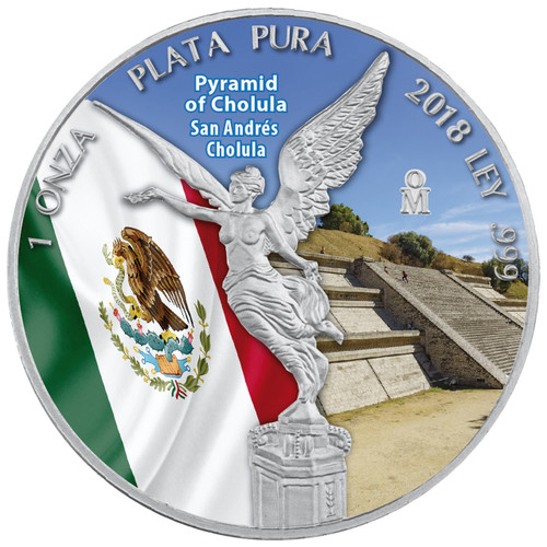 PYRAMID OF CHOLULA  LIBERTAD - 1 OZ SILVER COIN MEXICO  2018