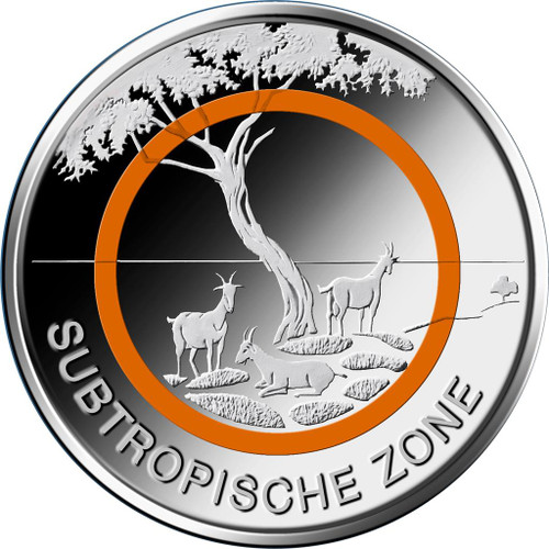 5 € Subtropical Zone ORANGE POLYMERIC RING Germany 2018