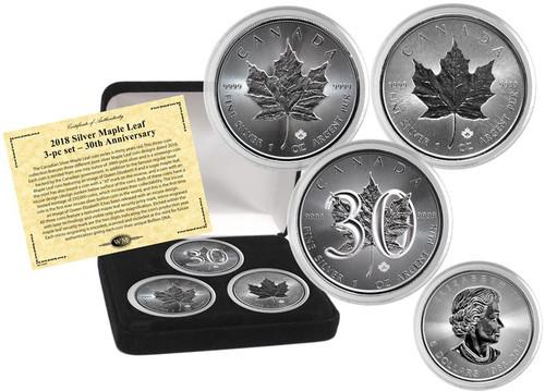 Silver Maple Leaf 3-pc set – 30th anniversary Canada 2018