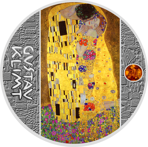 THE KISS Gustav Klimt Golden Five Silver Coin 1$ Niue 2018