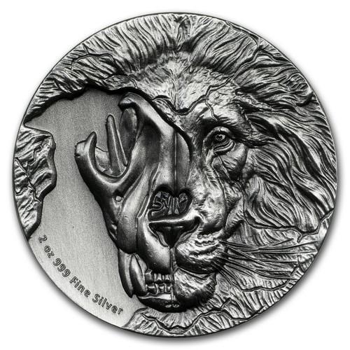 The Beast's Skull – Endangered Asiatic Lion Skull 2 oz Silver coin Niue 2018
