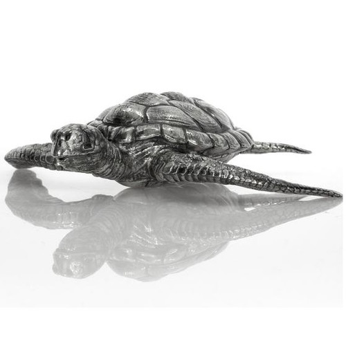Hawksbill Sea Turtle– 3D 12 Troy oz solid Silver STATUE