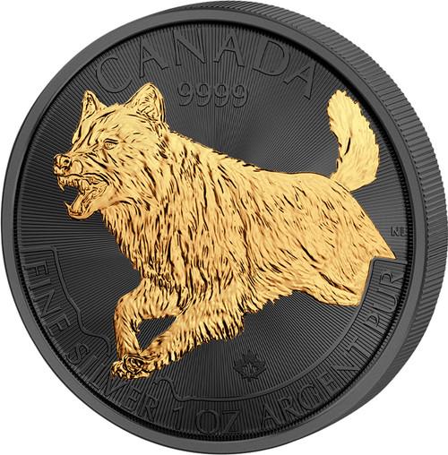 WOLF Golden Enigma 1 Oz Silver Coin 5$ Canada 2018