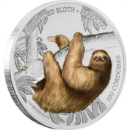 SLOTH Three-Toed Wildlife 1 Oz Silver Coin 100 Cordobas Nicaragua 2018