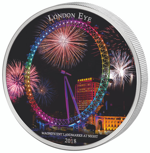 LONDON EYE Landmarks at Night 2 Oz Silver Coin 2000 Frcs Ivory