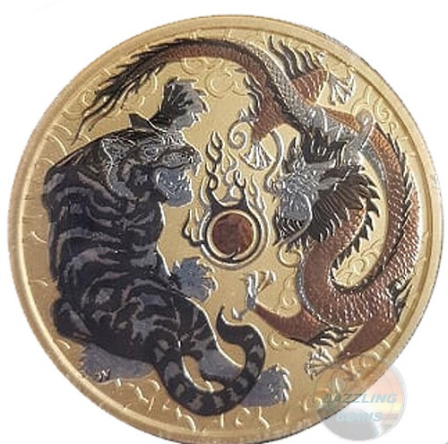 TIGER & DRAGON 1 oz Ruthenium, Rose Gold, Silver PLATED coin AUS 2018