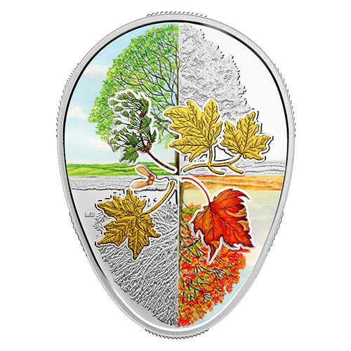 Four Seasons Maple Leaf Cycle Egg-shaped 1 oz Silver Proof Canada 2018