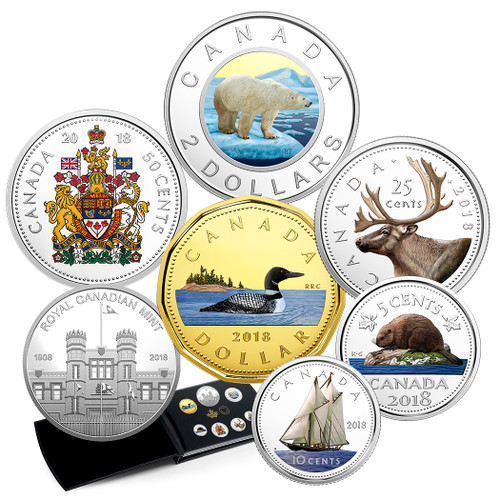 CLASSIC CANADIAN COINS - COLOURIZED FINE SILVER COIN SET 2018