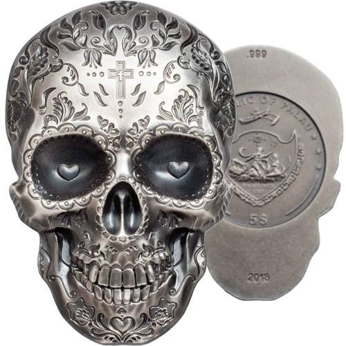 CATRINA DAY OF THE DEAD Dia Muertos Shape 1 Oz Silver Coin 5$ Palau 2018