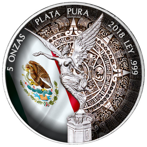 5 oz LIBERTAD - AZTEC CALENDAR Silver Color Coin MEXICO 2018