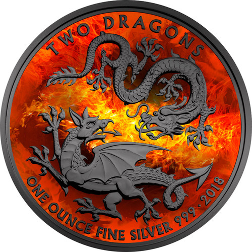 BURNING TWO DRAGONS Black Ruthenium & Color 1 Oz Silver Coin UK 2018