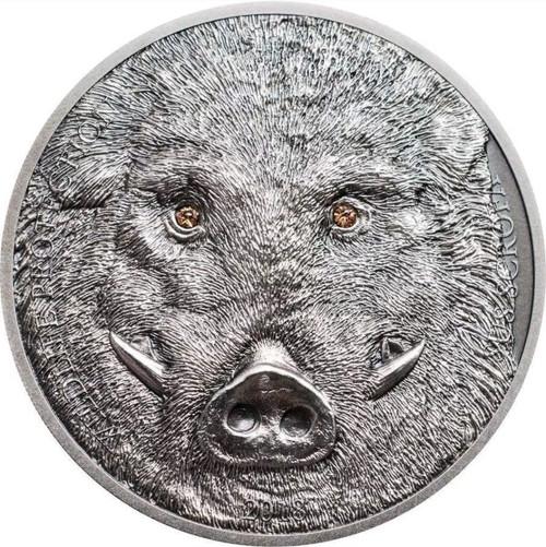WILD BOAR Sus Scrofa 1 Oz Silver Coin 500 Togrog Mongolia 2018