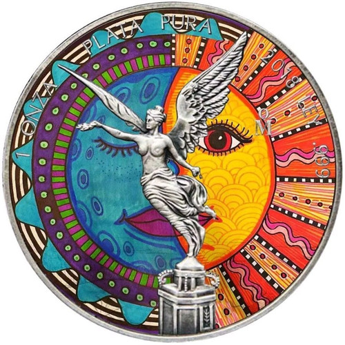 LIBERTAD HUICHOL Antique Finish Color Coin MEXICO 2018
