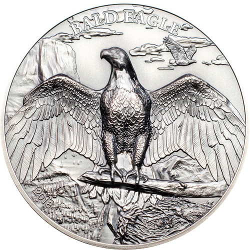 BALD EAGLE High Relief Animals 1 Oz Silver Coin 5$ Cook Islands