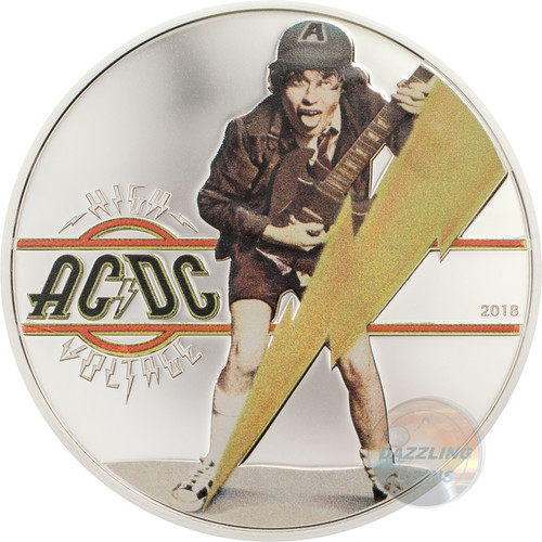 HIGH VOLTAGE AC-DC Silver Coin 2$ Cook Islands 2018