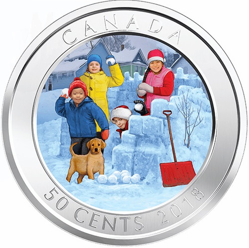 3D SNOWBALL FIGHT – Lenticular 3D 50 cent Coin Canada 2018