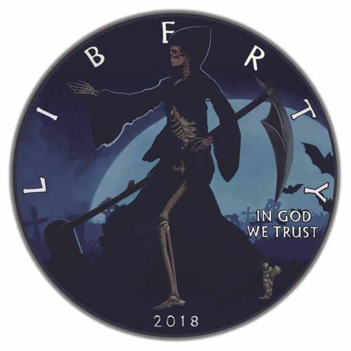 LIBERTY REAPER – RUTHENIUM and COLOR Liberty 1 Oz Silver Coin 2018