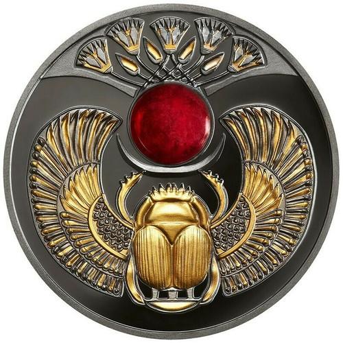 SAPPHIRE SCARABAEUS Ancient Symbol Silver Coin 1$ Niue 2020