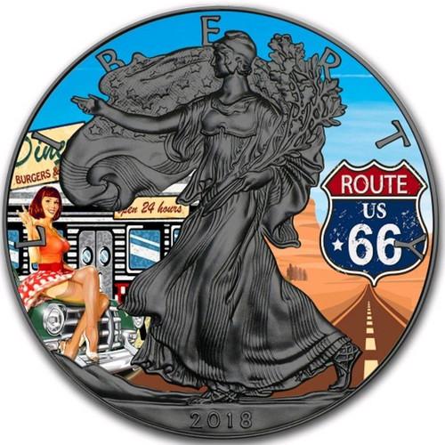 US ROUTE 66 EAGLE - 24K GOLD GILD Liberty 1 Oz Silver Coin 2018